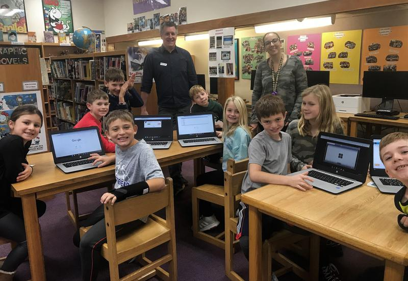 """Third graders at Jefferson School participated in """"Hour of Code"""" activities during Computer Science Education Week with the help of code.org volunteer and Westfield resident Charlie Schafer (back left)."""