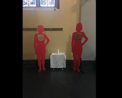Domestic Violence Awareness: Silent Witness Display in Back of Church Featured Photo