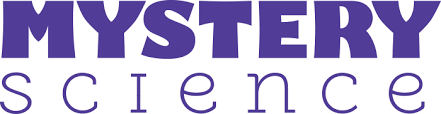 Mystery Science words logo purple and white