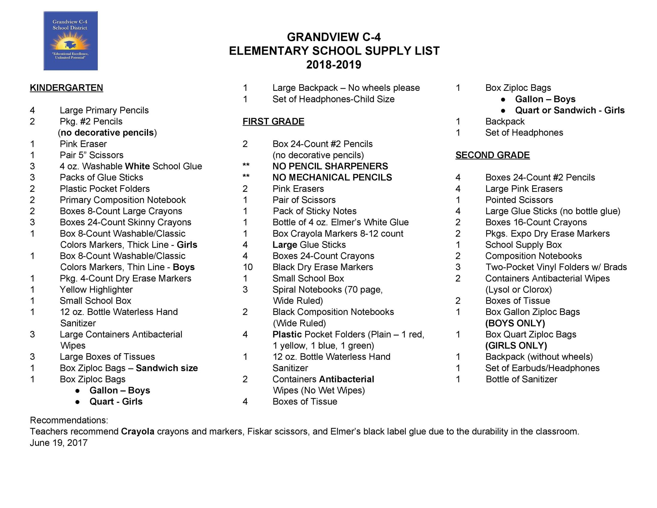 Supply List Families Grandview C 4 School District