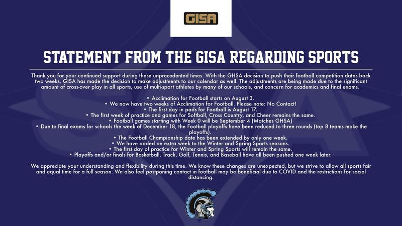 Statement from GISA Regarding Athletics 7/21/20 Featured Photo