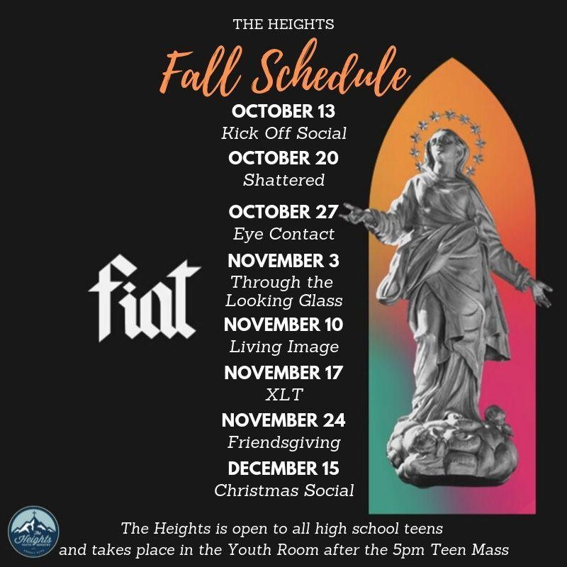 The Heights Fall Schedule 2019