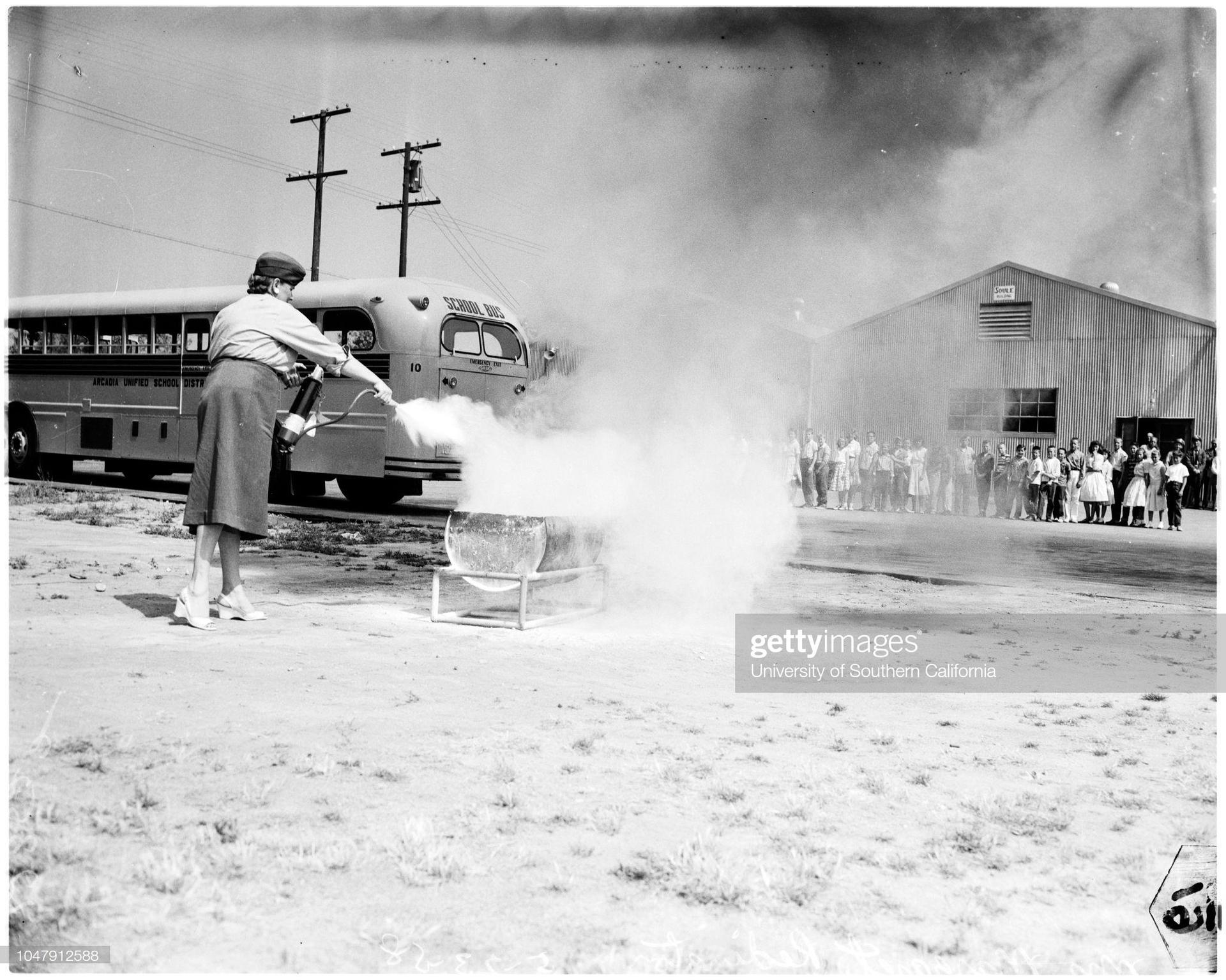 vintage photo, fire extinguisher training