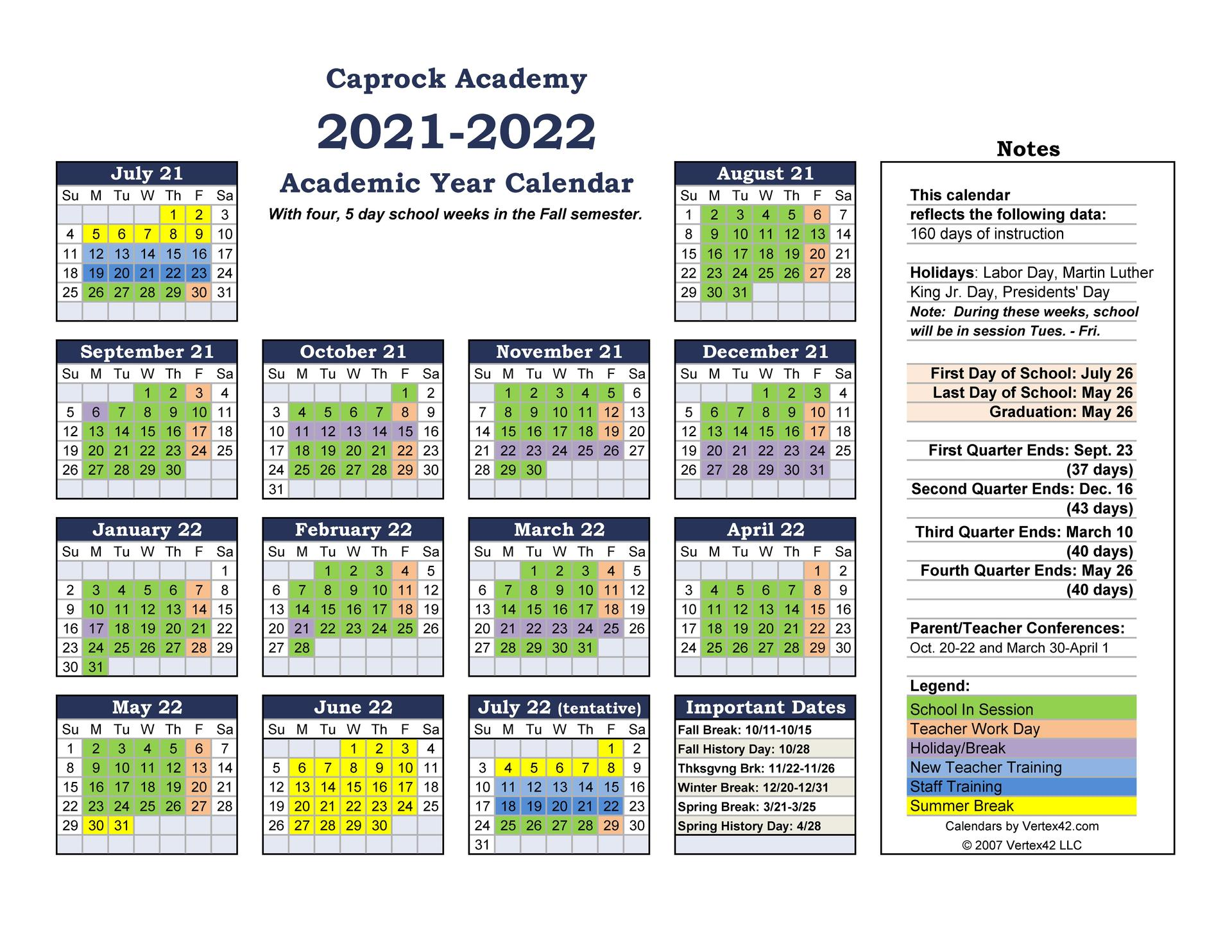 2021-2022 approved school calendar