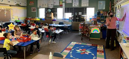 1st grade classroom completing a lesson