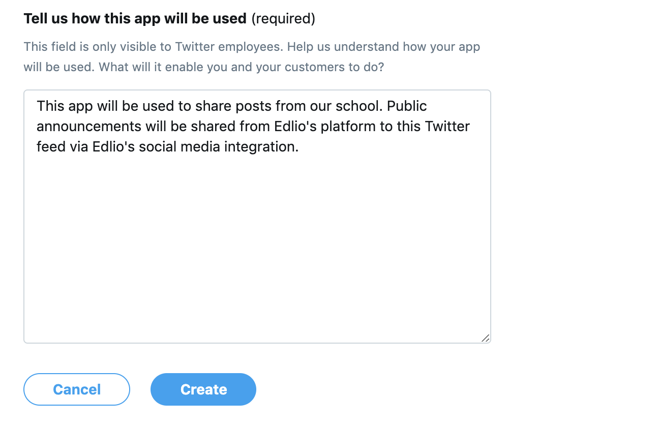 enter how app will be used