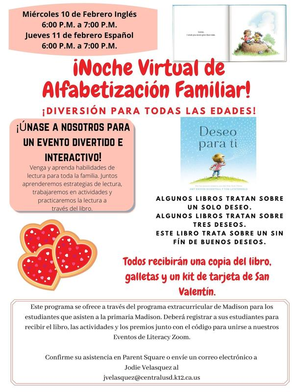 Virtual Family Literacy Night Flyer in Spanish