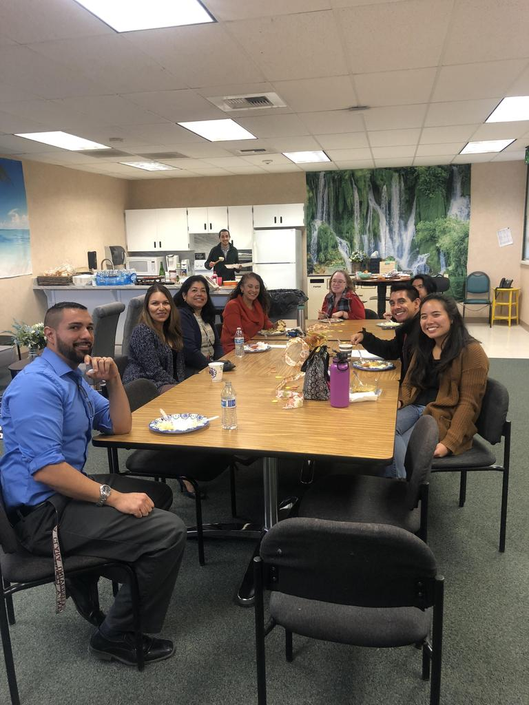 upper grade staff enjoys Thanksgiving lunch