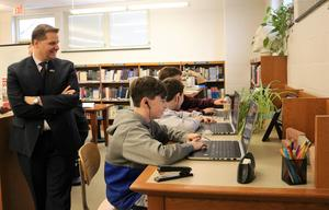 New Jersey Department of Education Deputy Assistant Commissioner Dr. David Greer visited Roosevelt Intermediate School on Dec. 5, as 8th graders used coding building blocks to create an animated dance party, just one of the many Hour of Code activities taking place across Westfield Public Schools during Computer Science Education Week.