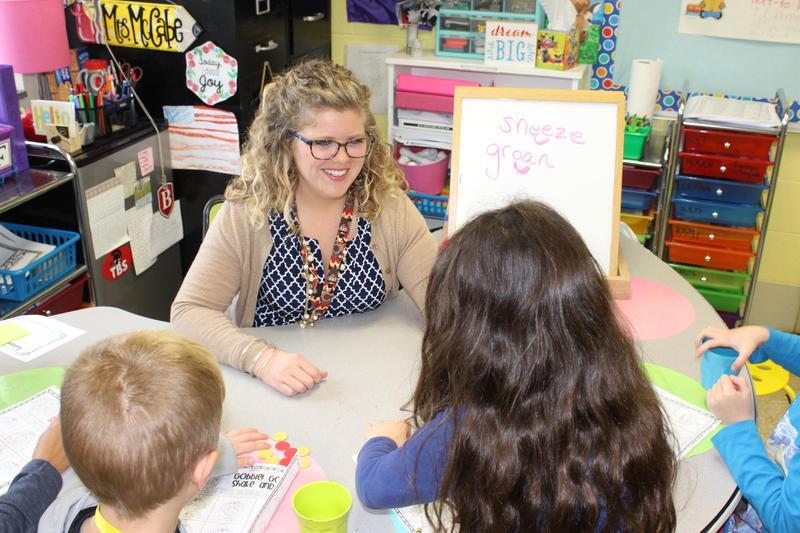 Stephanie McCabe provides individualized instruction to her students.