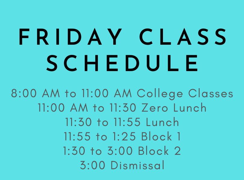 New Friday Class Schedule