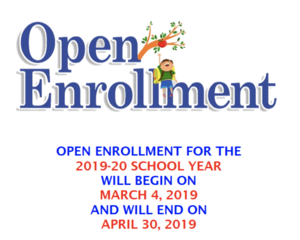 Flyer with Open Enrollment and dates March 4 - April 30, 2019