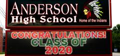 AHS outside elctronic sign, 'Congratulations Class of 2020'