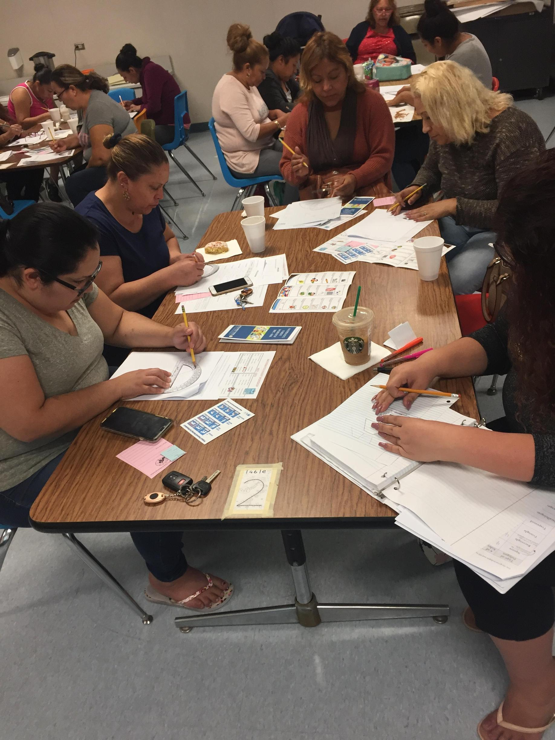 Parents learning through hands on lessons
