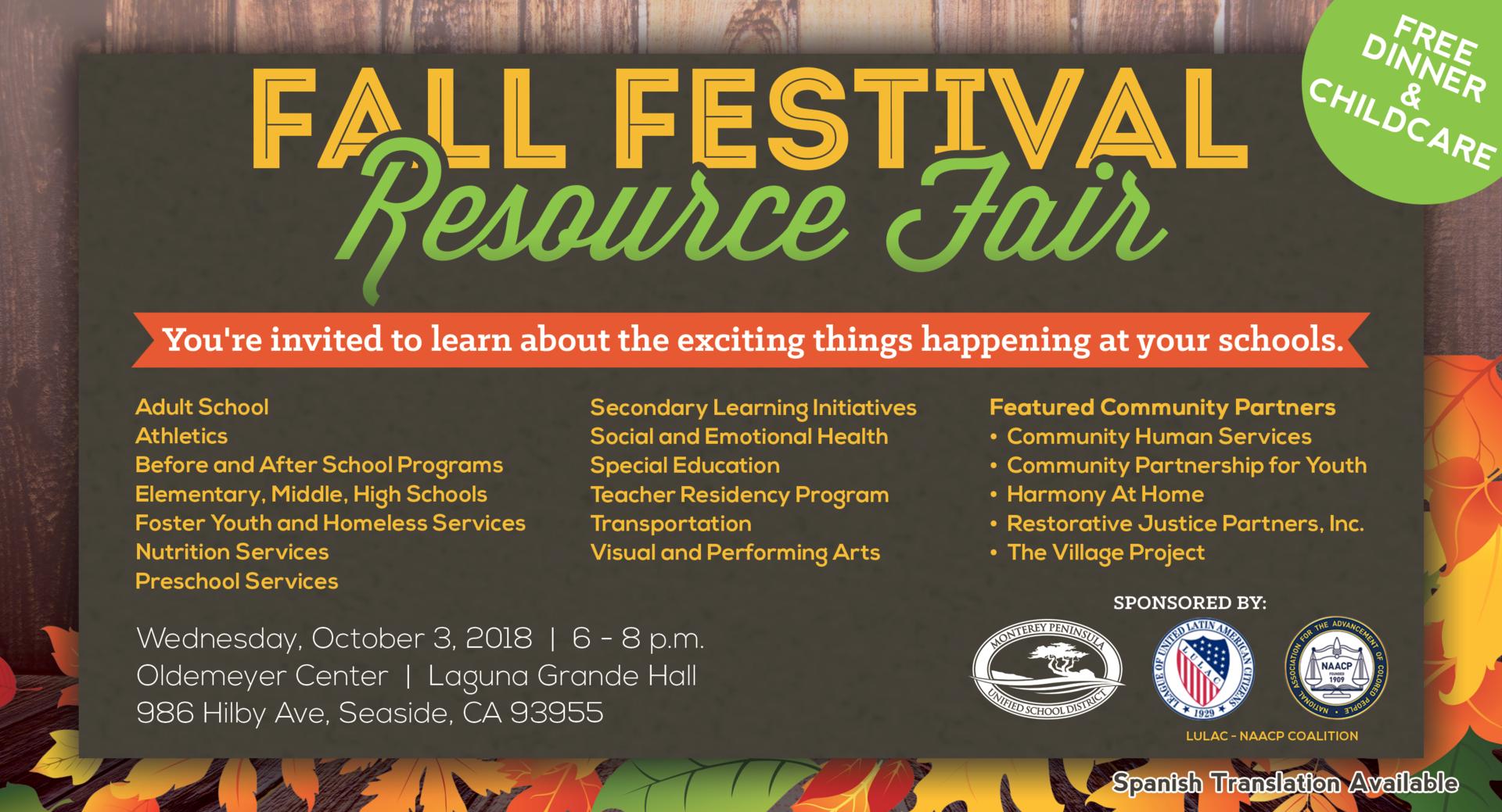 MPUSD Fall Festival Resource Fair Flyer