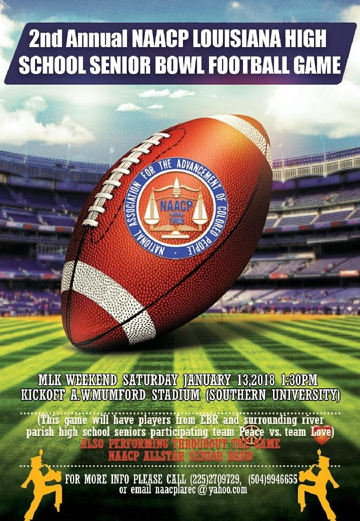 Photo of the promotional flyer advertising the 2nd Annual NAACP Louisiana High School Senior Bowl Football Game