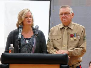 Carla VanHaitsma speaks for her father, Ivan Ploeg, who is the honored veteran of the year.
