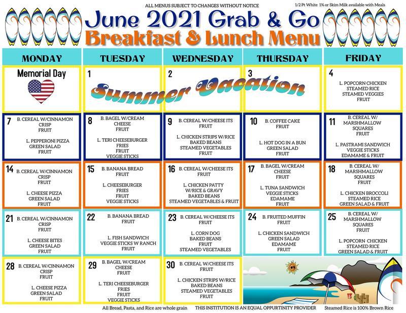 June Grab & Go Menu