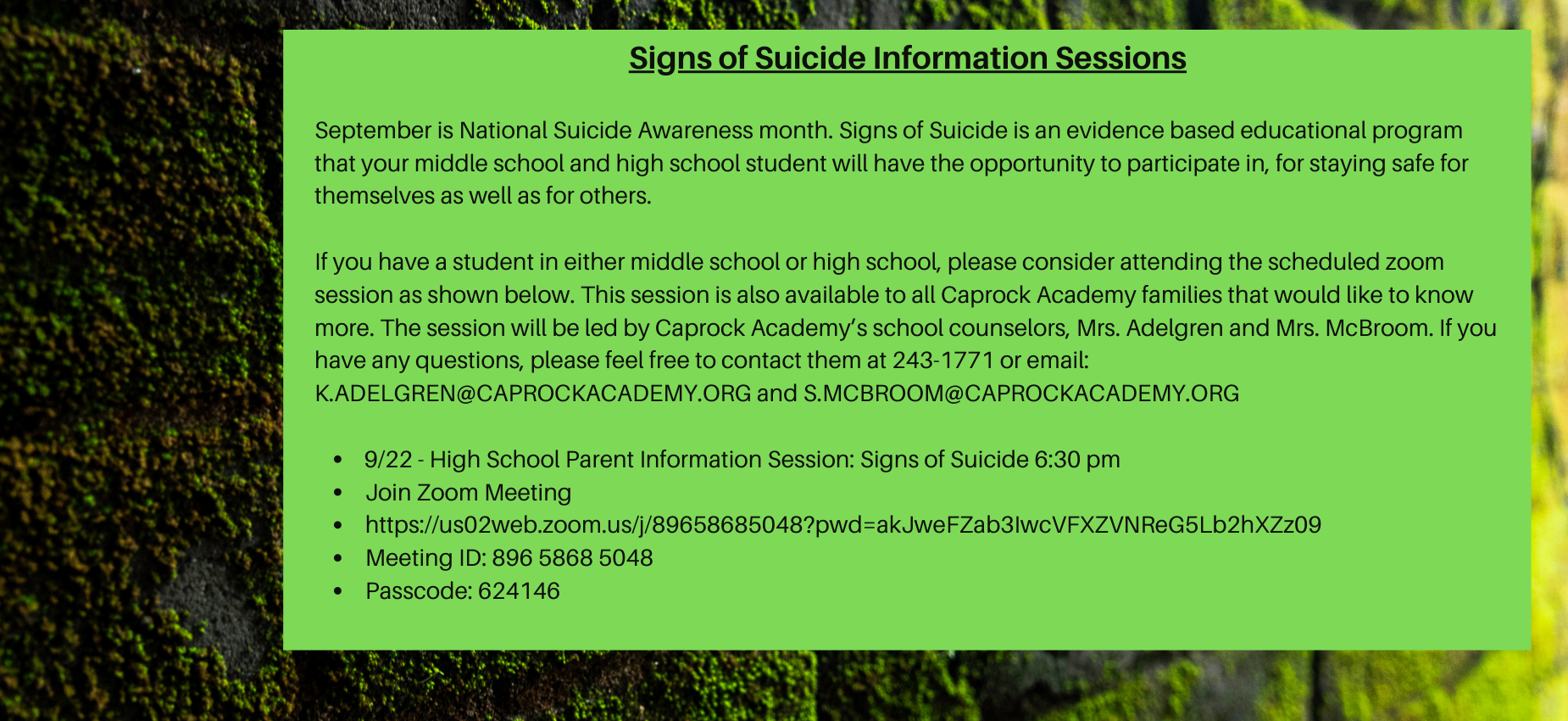 Signs of Suicide Information Sessions