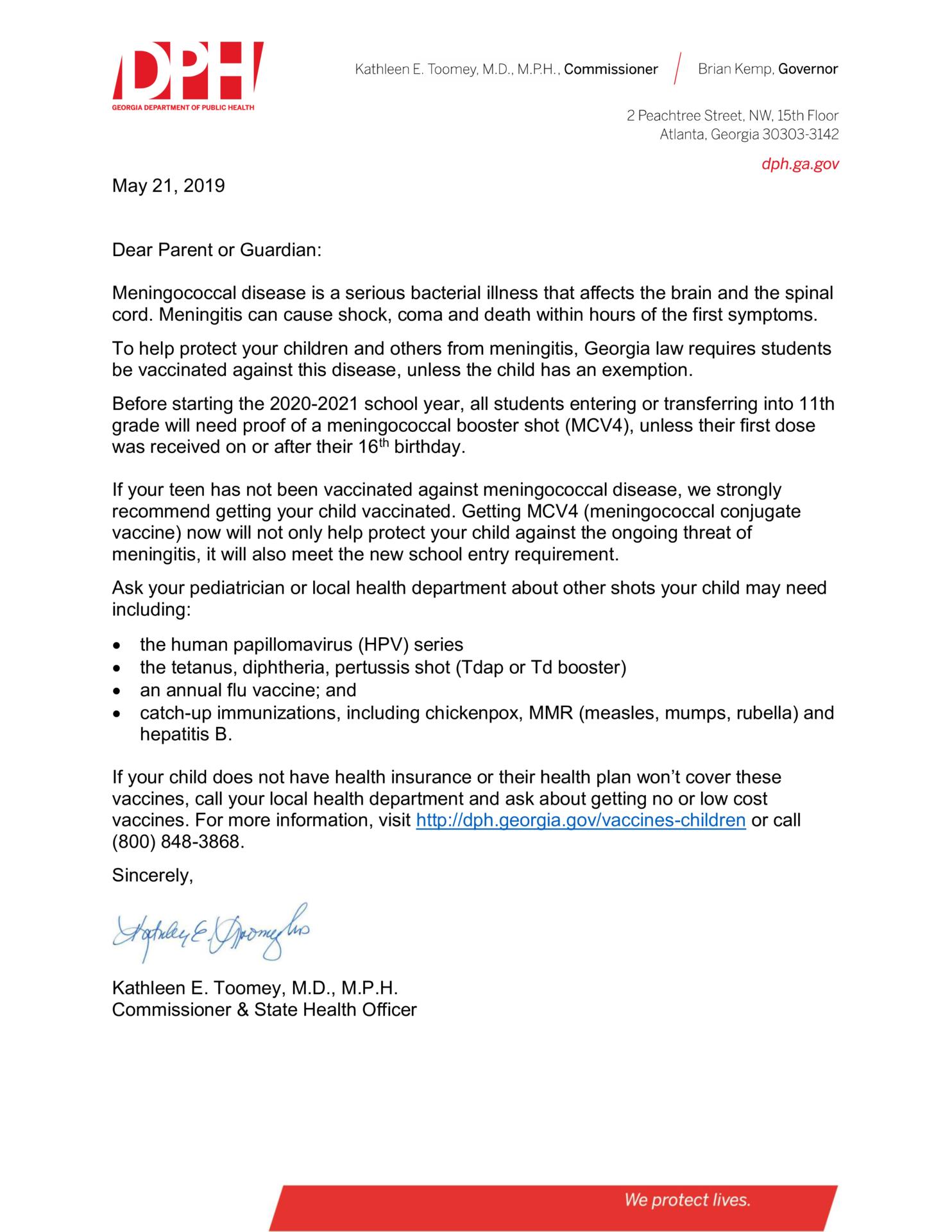 Meningitis Vaccine Parent Letter
