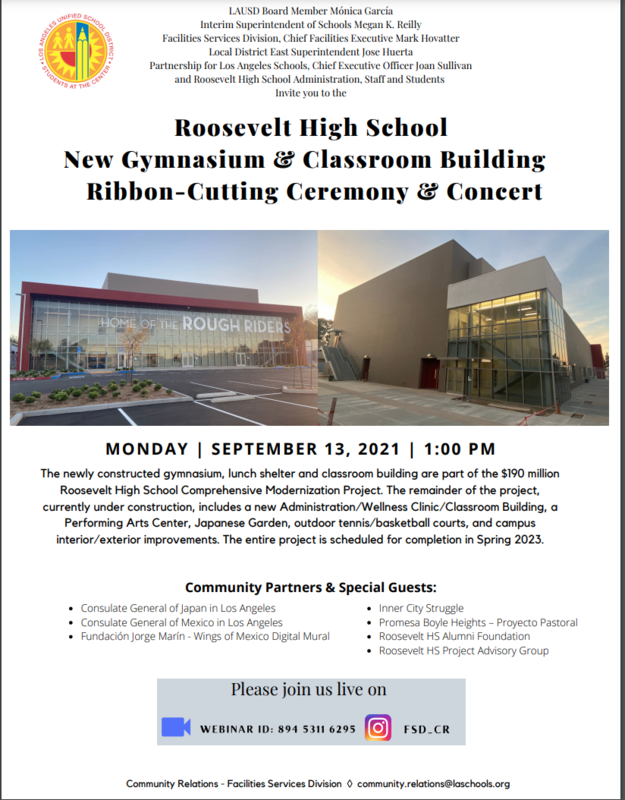 Roosevelt High School New Gymnasium & Classroom Building Ribbon-Cutting Ceremony & Concert Featured Photo