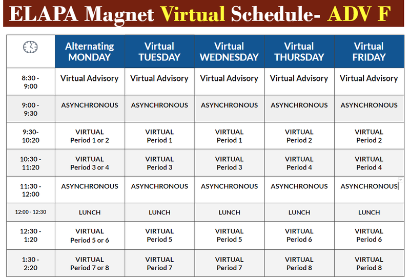 ELAPA Magnet Virtual Schedule- Advisory F Featured Photo