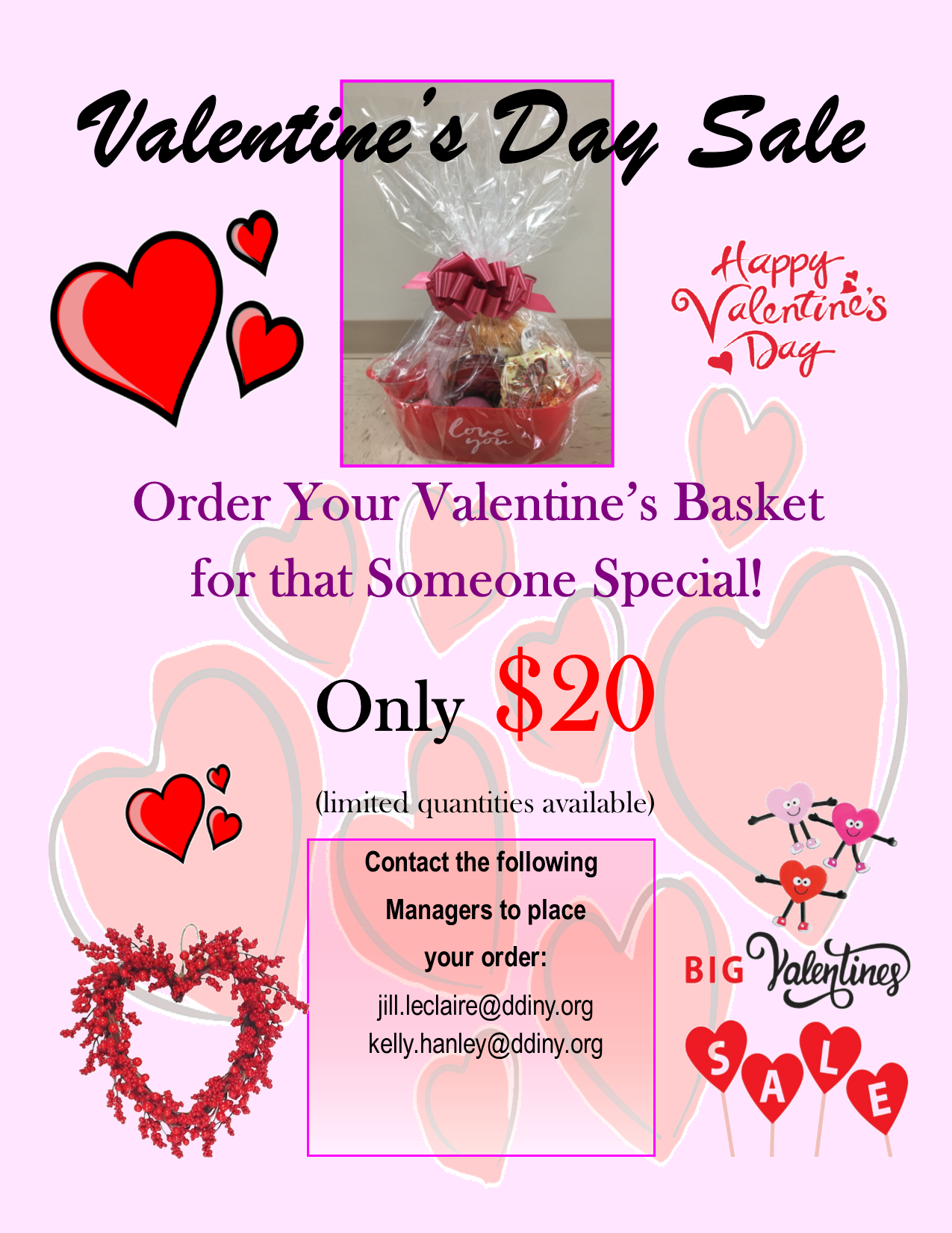 Picture of Valentine's Day basket sale flyer