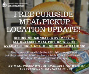 meal pick up at LHS MWF from 12-12:30 pm