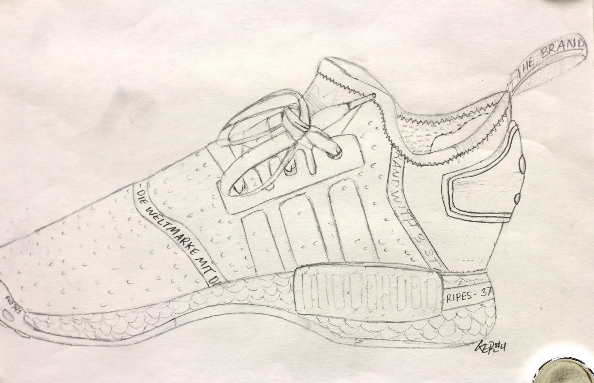 AHS Art line drawing of single athletic shoe