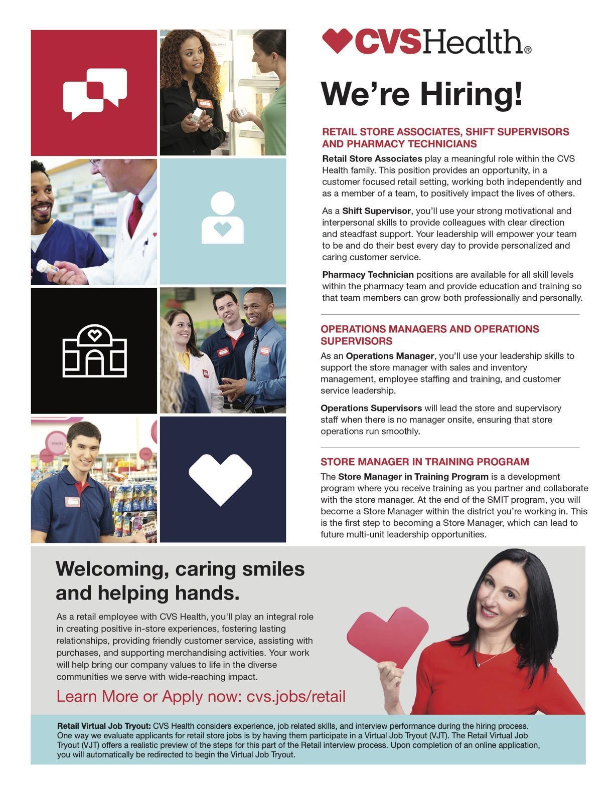 CVS flyer for job opportunity
