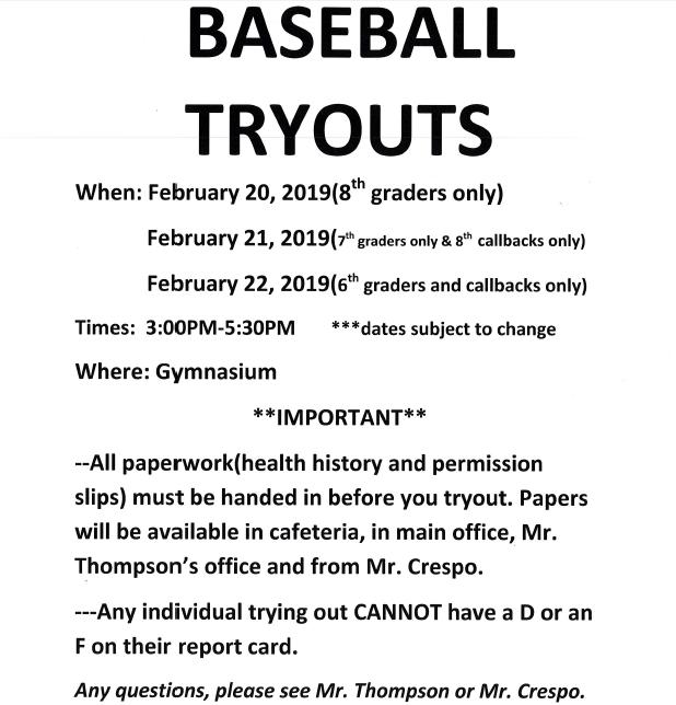 Baseball Tryouts Information Thumbnail Image