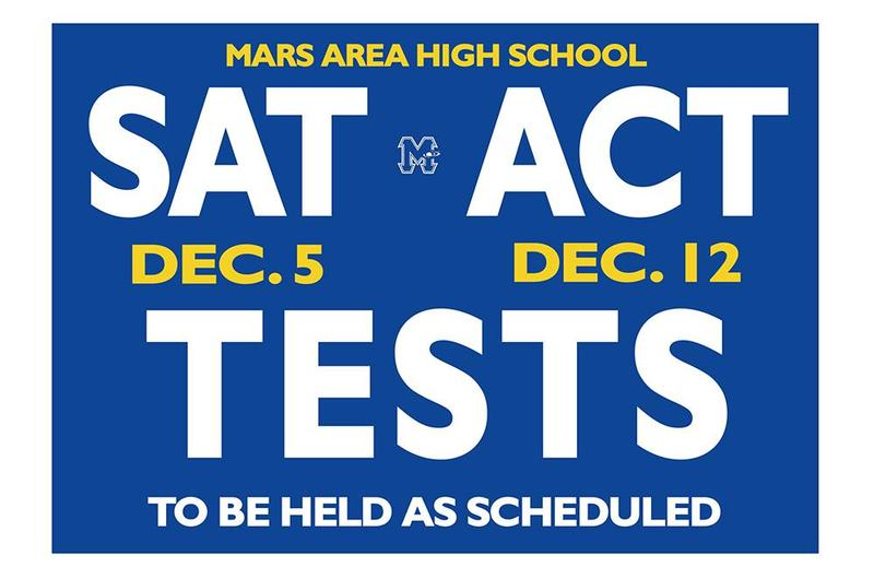Mars Area High School SAT, ACT Tests to be held as Scheduled
