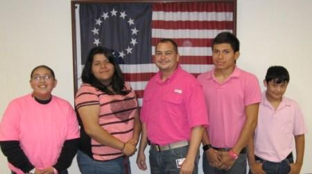 Mr. Vela and students. Cancer Awareness  by wears PINK