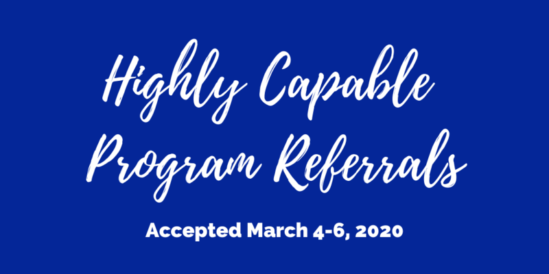 Highly Capable Program Referrals Will Be Accepted March 4 - March 6 Thumbnail Image