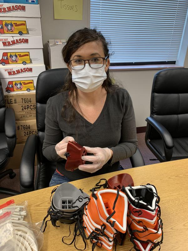 Candice Hite, WIU, working on masks