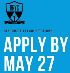 A graphic with the BRYC Apply By May 27 notice