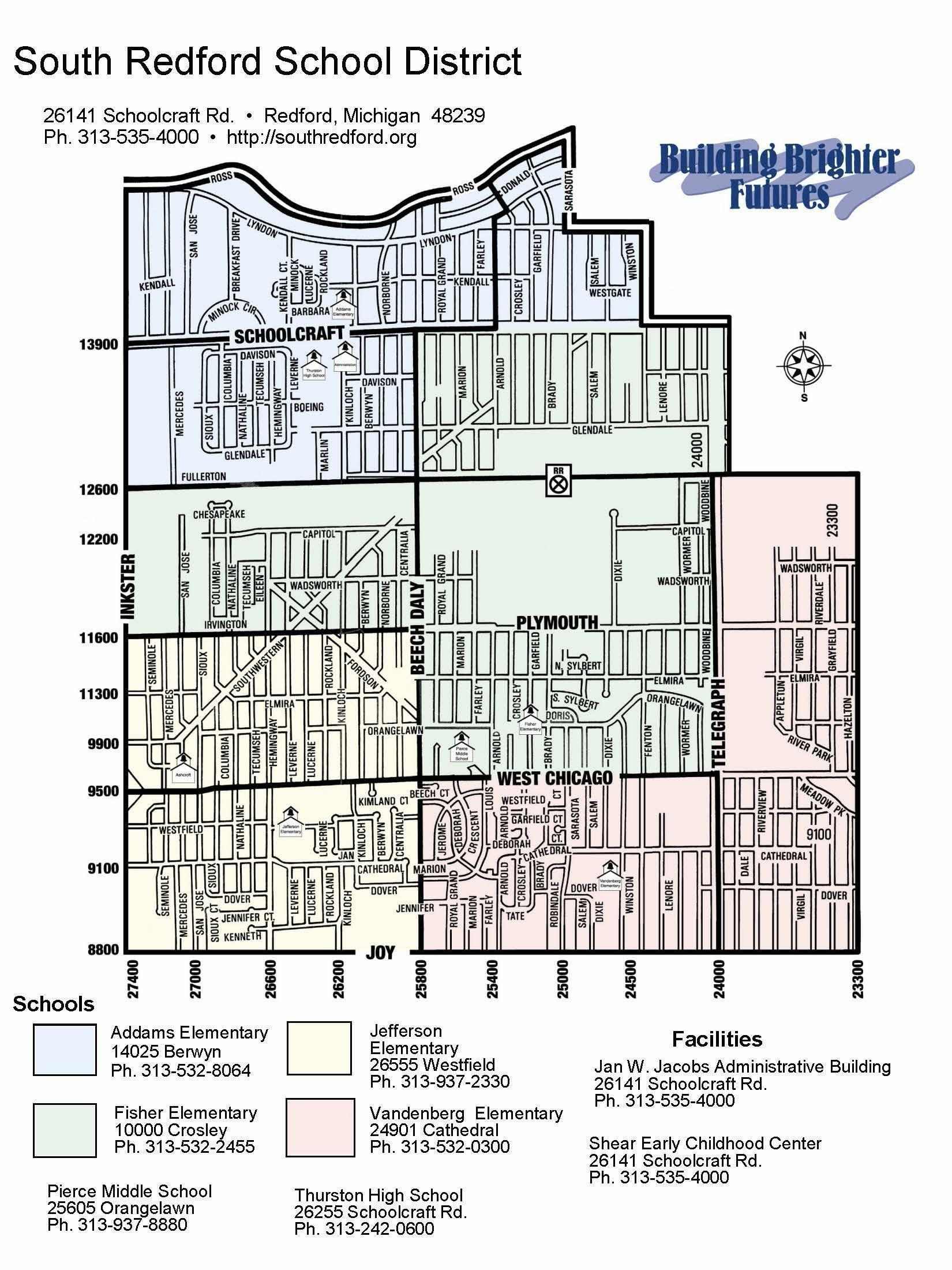 South Redford Elementary Zones Map