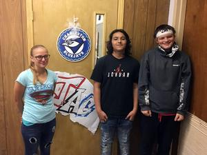 Students who designed the new CHS JAG logo, pictured left to right: Dakota Wright, Andrew Orozco, Christian Waters