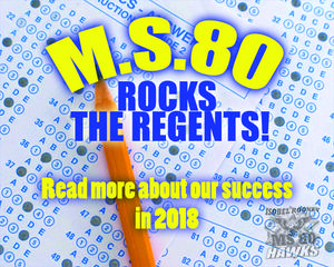 Graphic image of a scantron that reads, MS80 Rocks the Regents!