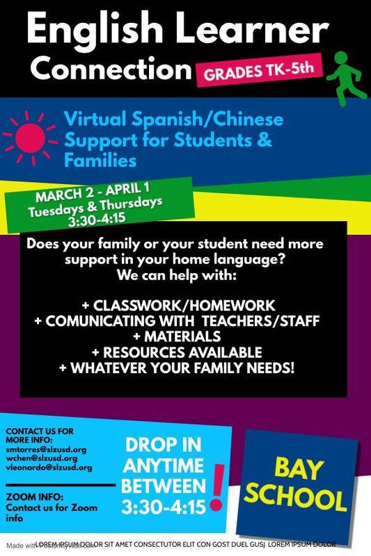 English Learner Connection March 2nd-April1st  Tues. and Thurs. 3:30-4:15. Featured Photo