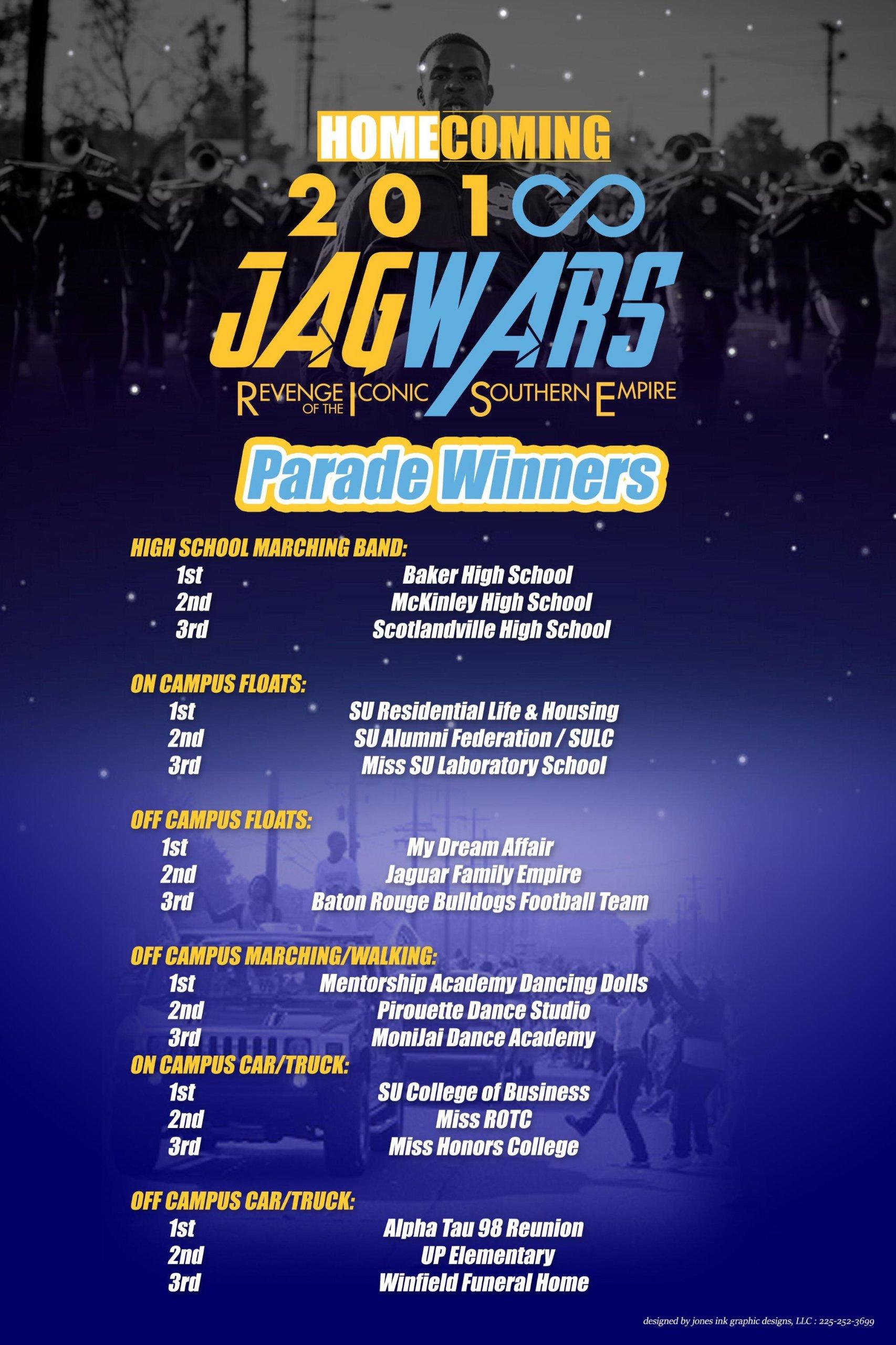 a poster from Southern University JagWars Parade Contest. It listed winners in certain categories