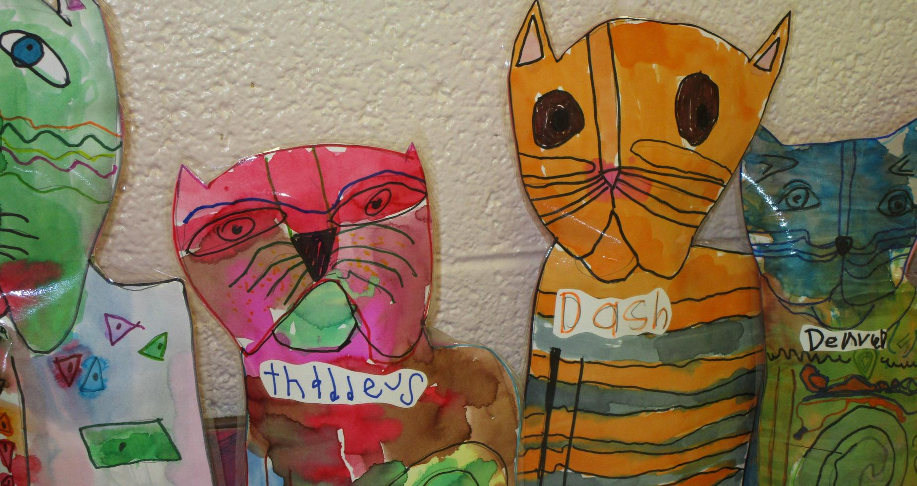 Laurel Burch cat sculptures