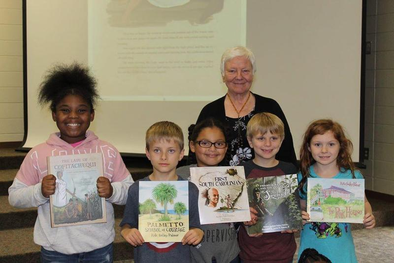 Students with author Kate Sally Palmer
