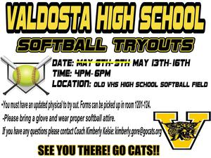 VHS Softball Tryouts Flyer
