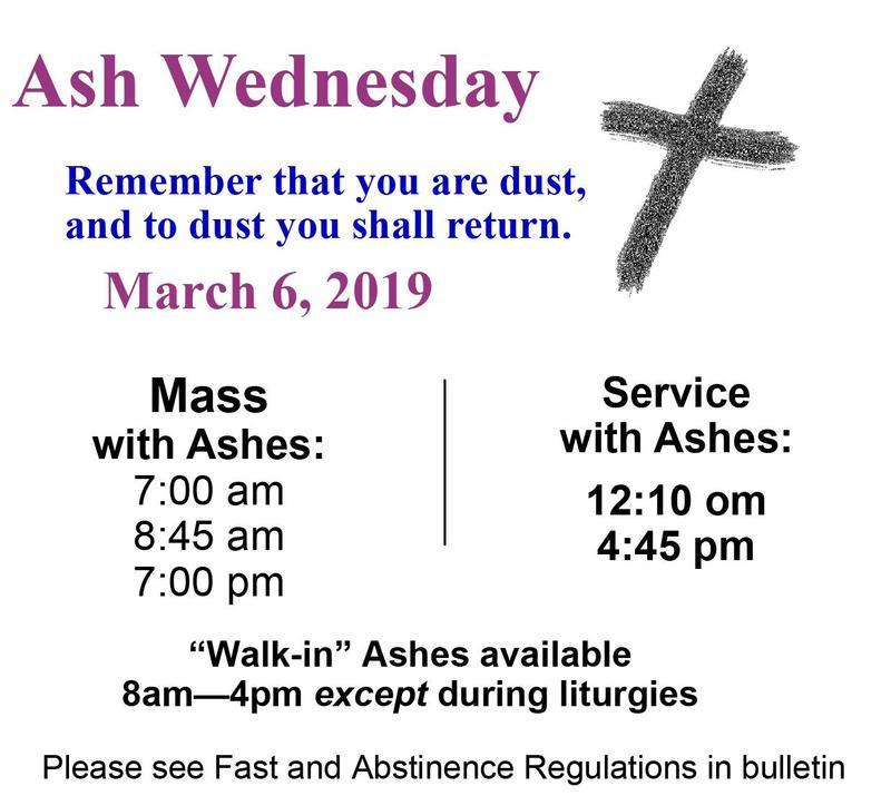 Ash Wednesday Schedule Thumbnail Image