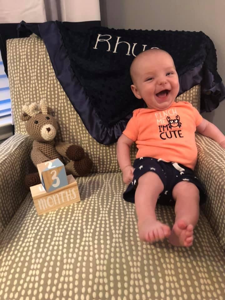 Mrs. Davis' son, Rhys at three months old