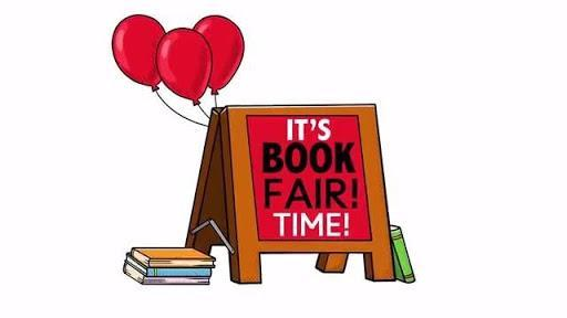 book fair sign with balloons and books
