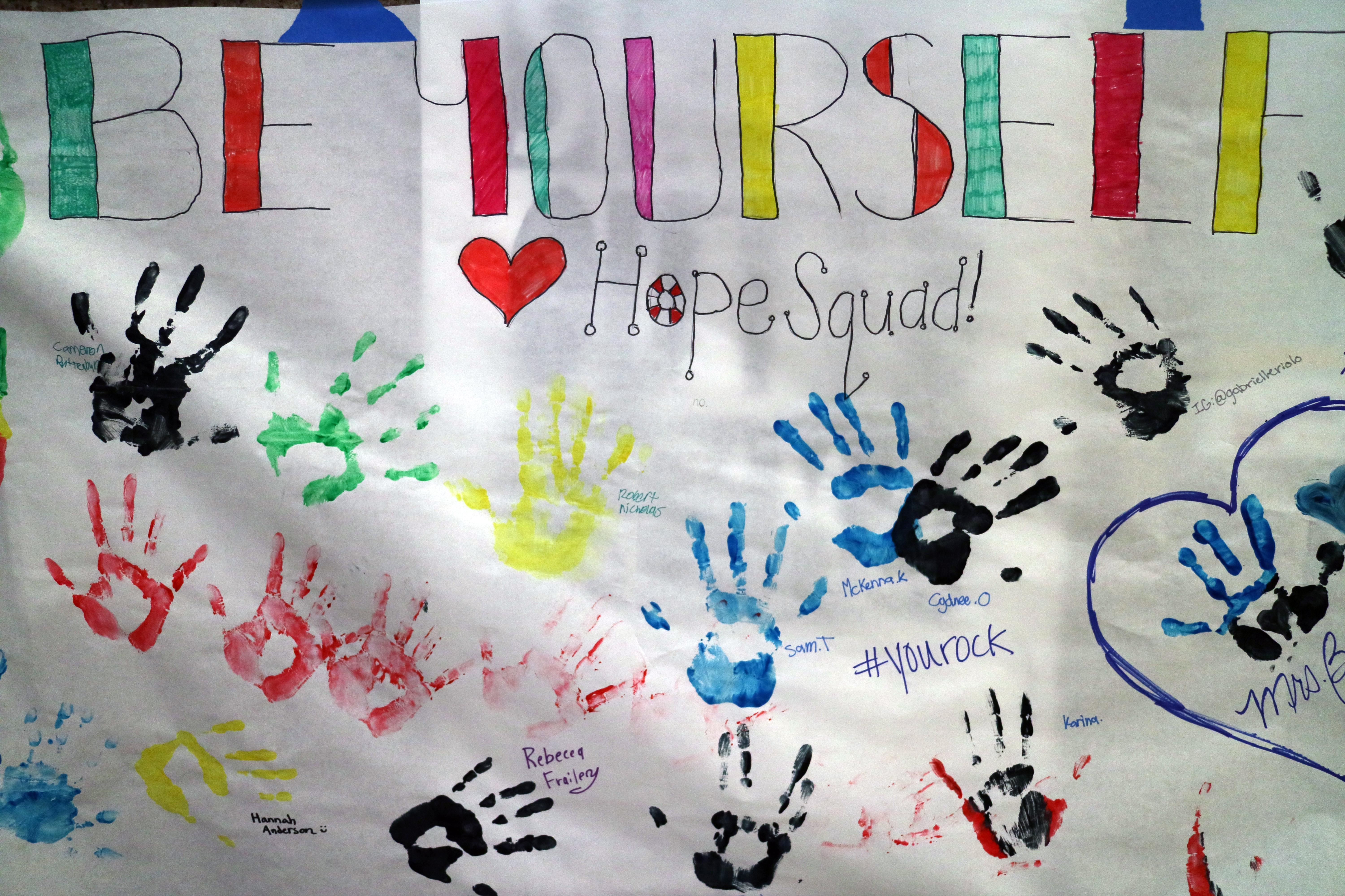 Stansbury high school home of the stallions hope squad poster with hand prints and positive reinforcement messages fandeluxe Image collections