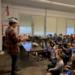 Jordan Romero talking to City School students