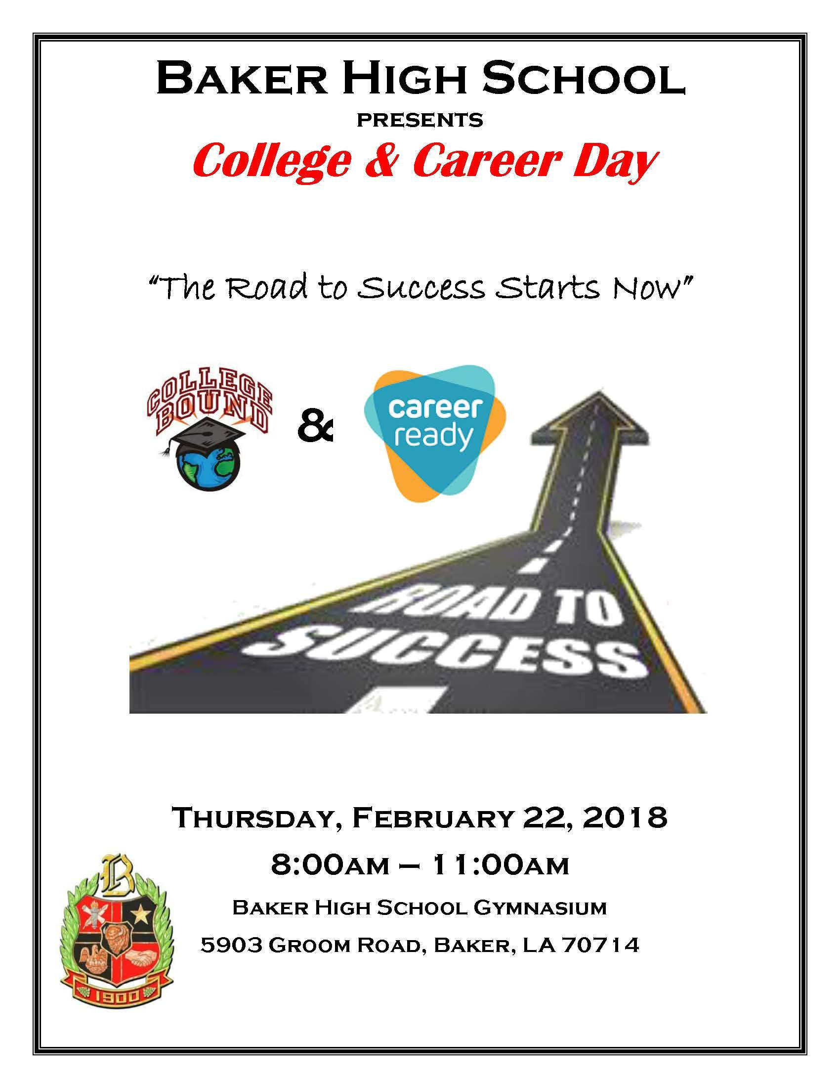Photo of the flyer advertising the Baker High School upcoming College and Career Day